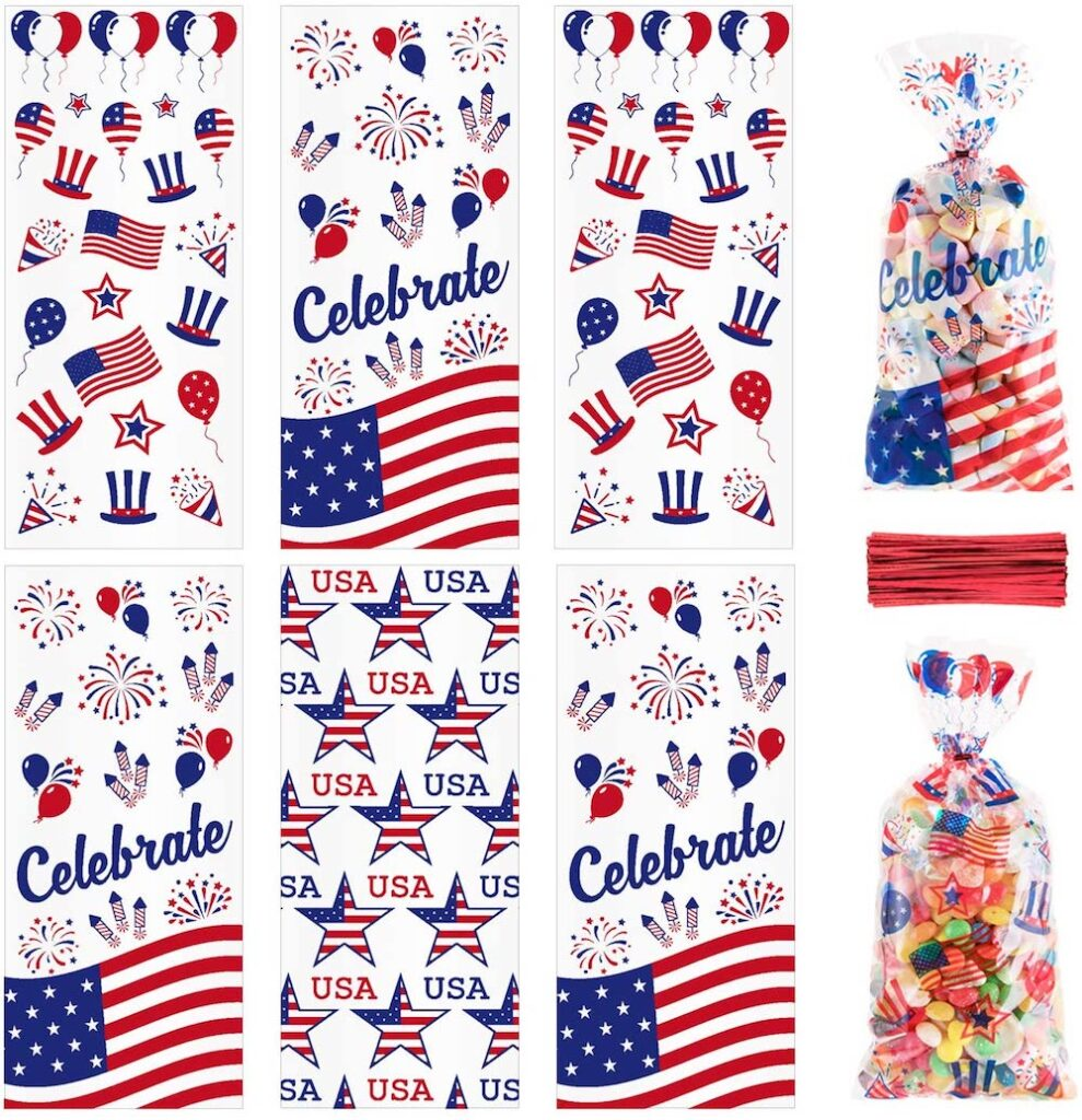 Whaline 150Pcs Patriotic Cello Bag- best Independence Day gift for dad.