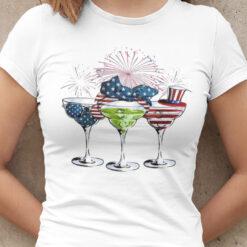 Wine Glasses American Flag 4th Of July Shirt