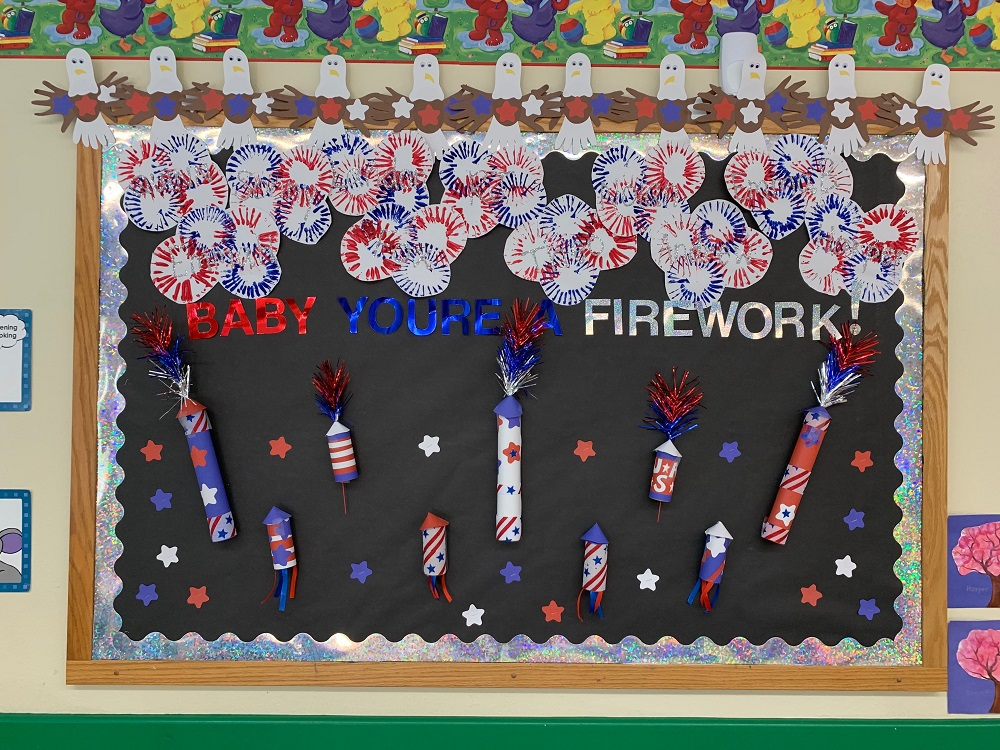 fireworks pattern - how to decorate school on the 4th of  July