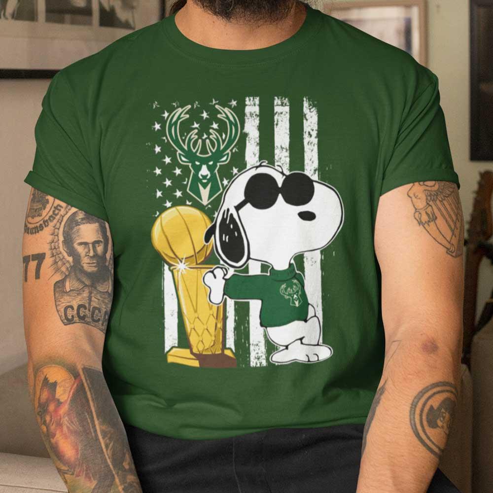 Bucks Championship Tshirt Snoopy Joe Cool Milwaukee Bucks Cool