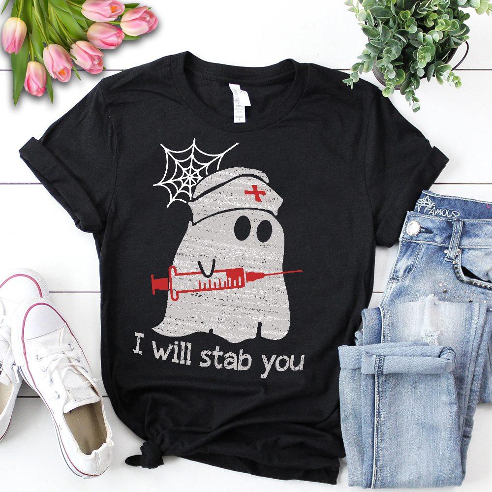 Funny Halloween Nurse Shirt Ghost I Will Stab You