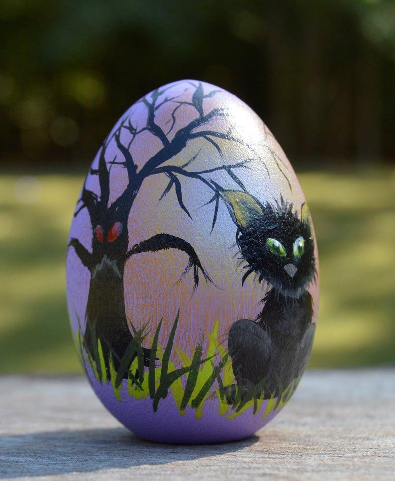 Halloween Cat Hand Painted Egg- best Halloween gift for grandma.