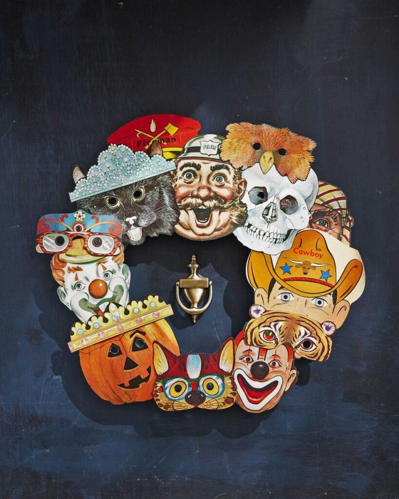 Halloween Masks Wreath