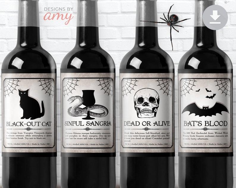 Printable Halloween Wine Labels- best Halloween gift for dad.