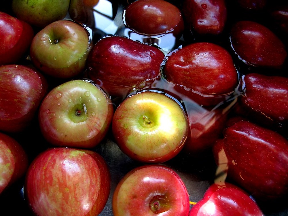 What are traditions on Halloween- bobbing for apples