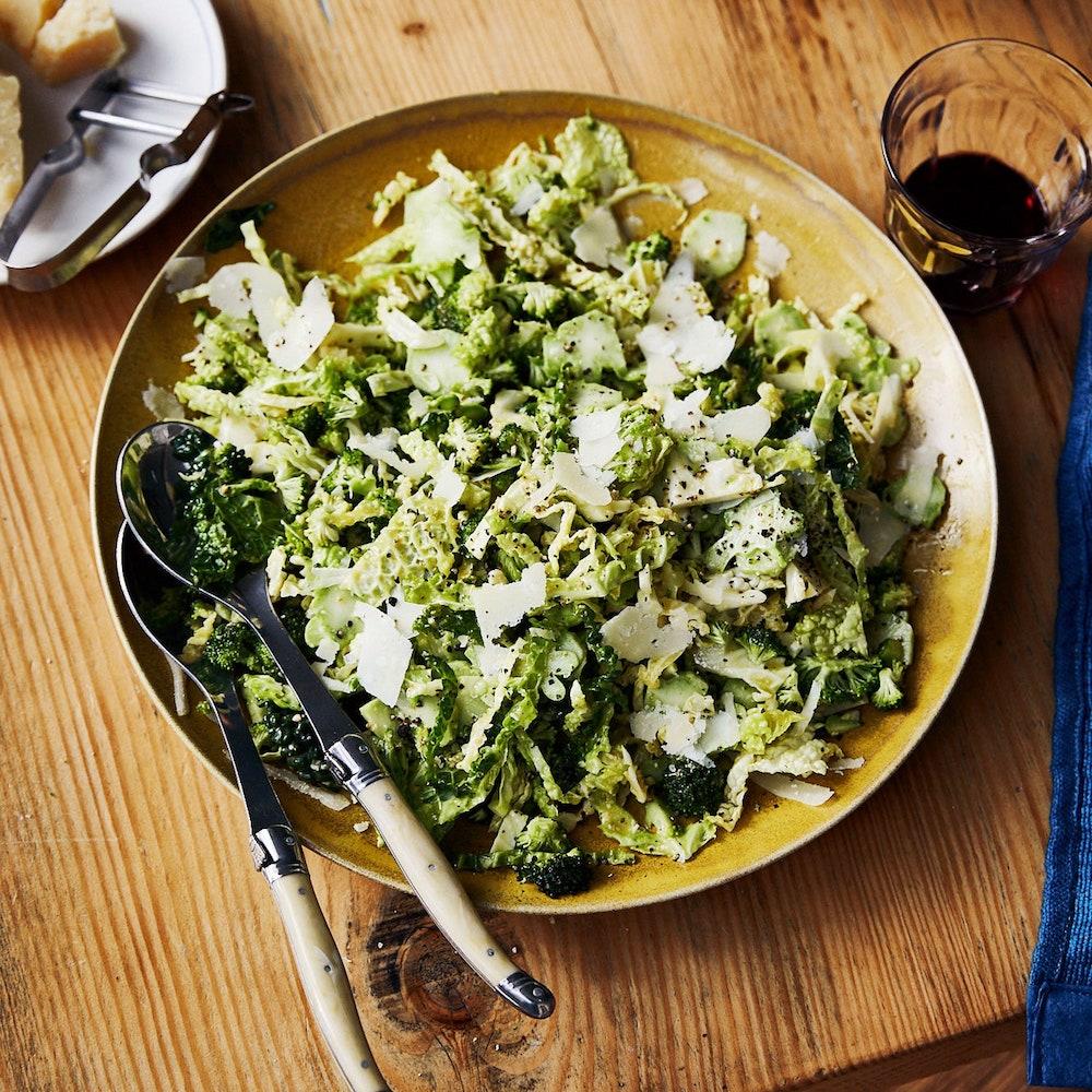 Broccoli Caesar- best green salad for Thanksgiving