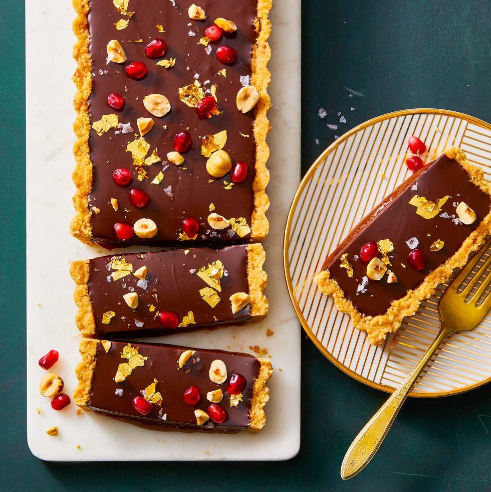 Chocolate, Hazelnut & Caramel Tart- best chocolate Thanksgiving desserts
