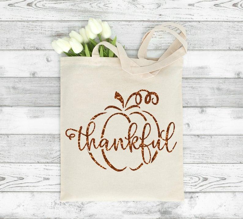 Custom Thankful Tote Bag