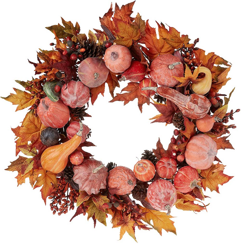 Harvest Wreath Fall, 28-Inch- best hostess gifts for Thanksgiving.