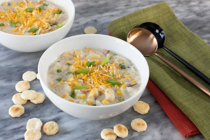 Instant Pot Corn Chowder- corn dishes for Thanksgiving