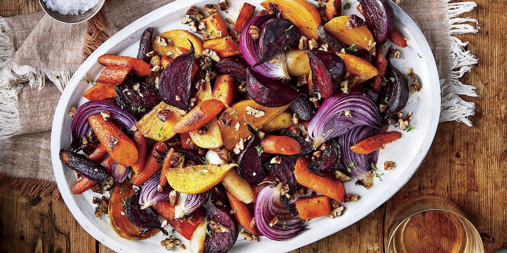 Oven- Roasted Root Vegetables with Spicy Pecan topping- cool food ideas for Thanksgiving