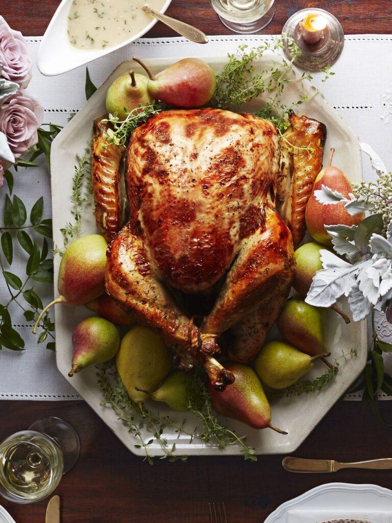 Pear-Thyme Brined Turkey Recipe- best roast turkey recipe for Thanksgiving