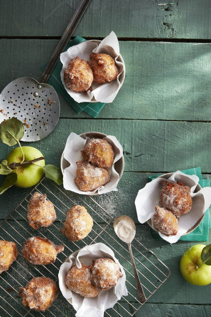 Pie-Spiced Apple Fritters- cool Thanksgiving desserts