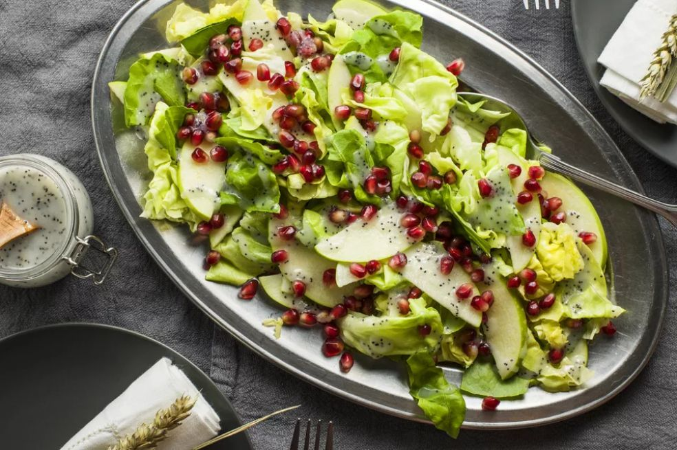 Pomegranate Apple Salad with Poppyseed Dressing- best green salad for Thanksgiving