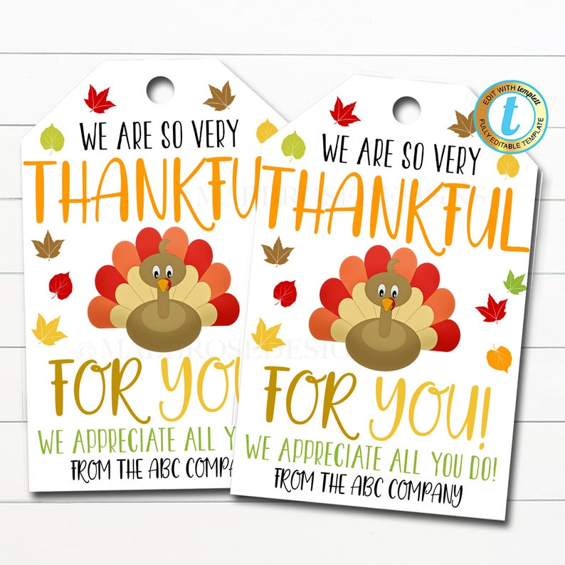 Thankful Gift Tag - Thanksgiving gift ideas for employees