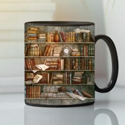 Bookshelf Mug Book Lovers Librarian Coffee Mug