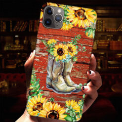 Boots Sunflowers Phone Case
