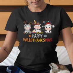 Happy HalloThanksMas Cow Shirt Happy Halloween Thanksgiving Christmas