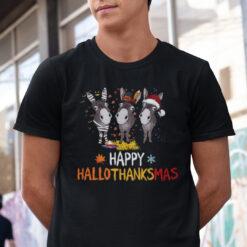 Happy Hallothanksmas Donkey Shirt Happy Halloween Thanksgiving Christmas
