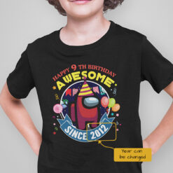 Personalized Among Us Happy 9th Birthday Awesome Shirt