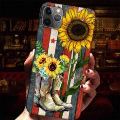 Sunflower Boots American Flag Phone Case Patriotic Case