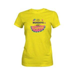 Less Monday More Summer T Shirt Vibrant Yellow