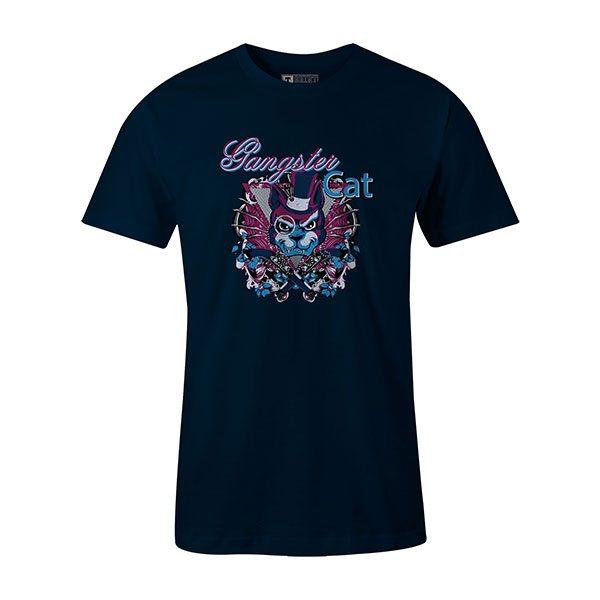 Gangster Cat T shirt navy