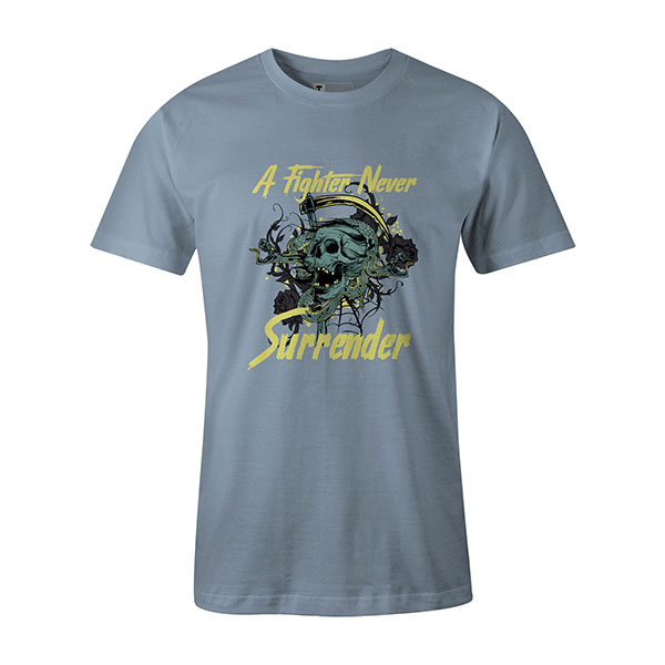 A Fighter Never Surrender T shirt baby blue