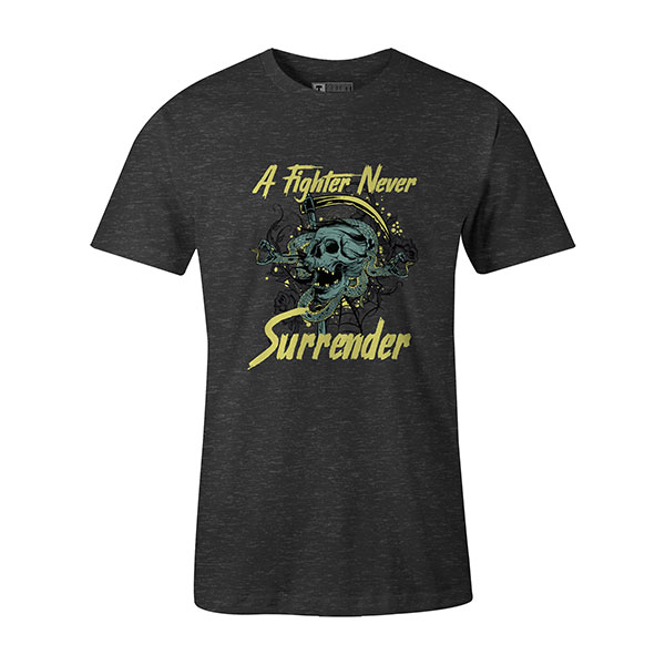 A Fighter Never Surrender T shirt heather charcoal