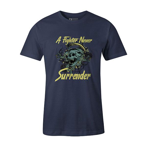 A Fighter Never Surrender T shirt heather denim