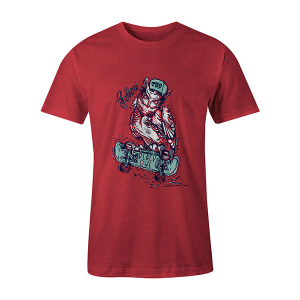Follow The Black Owl T shirt heather red