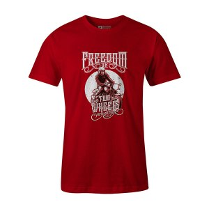 Freedom On Two Wheels T shirt red