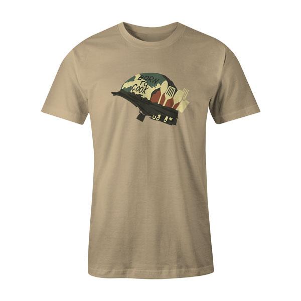 Born To Cook T Shirt Natural