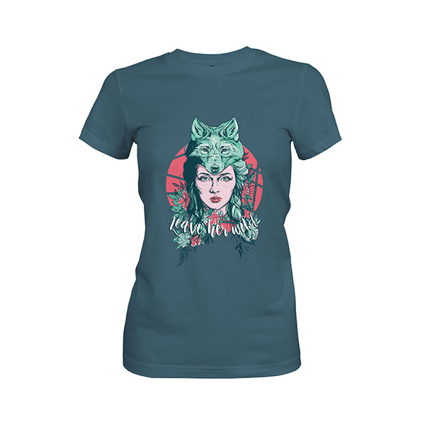Leave Her Wild T shirt indigo