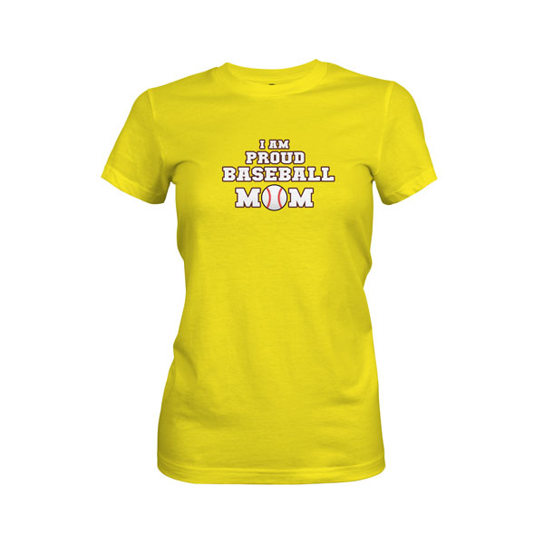 Proud Baseball Mom T Shirt Vibrant Yellow