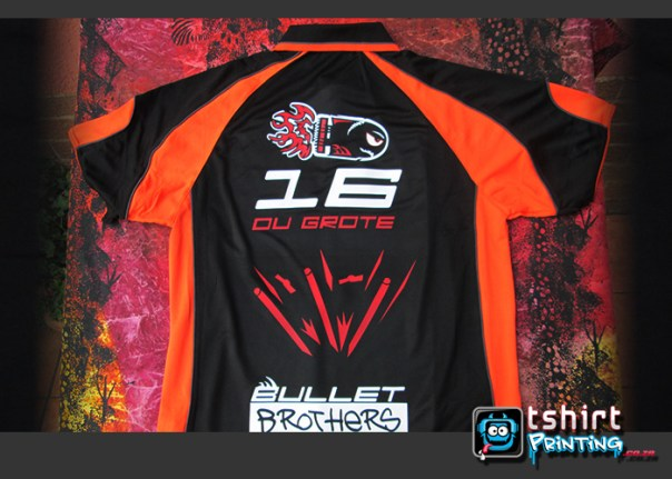Back printed bullet brothers tshirt, action cricket team