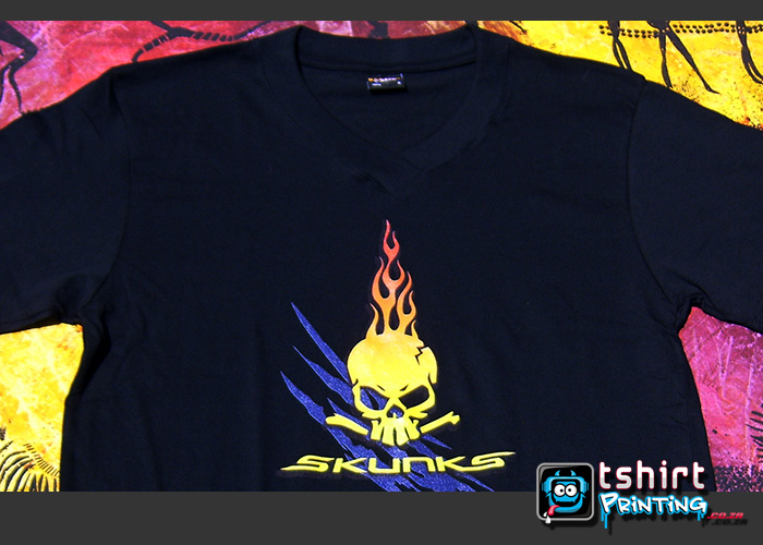 v-neck-tshirt-printing-full-colour-print-skull,skull with flames out of head,skunks