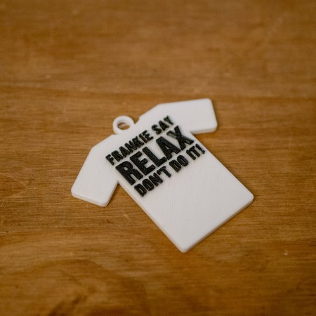 Frankie Say Relax Tee Shirt Keyring - 3D Printed in 2 colours - PLA 60mm (h) x 65mm (w) x 5mm (d)