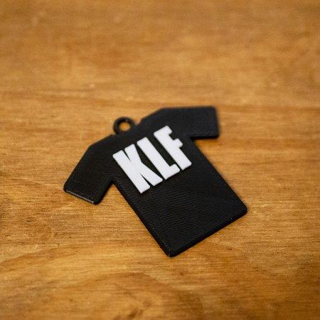 KLF Slogan Tee Shirt Keyring - 3D Printed in 2 colours - PLA 60mm (h) x 65mm (w) x 5mm (d)
