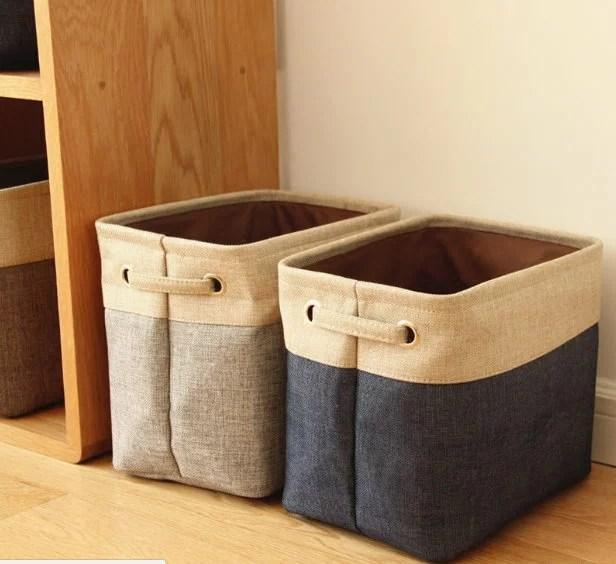 簡約日式無印風無蓋棉麻收納箱帆布整理箱儲物盒收納袋 可折疊/單售 | 麻吉小舖 - Rakuten樂天市場