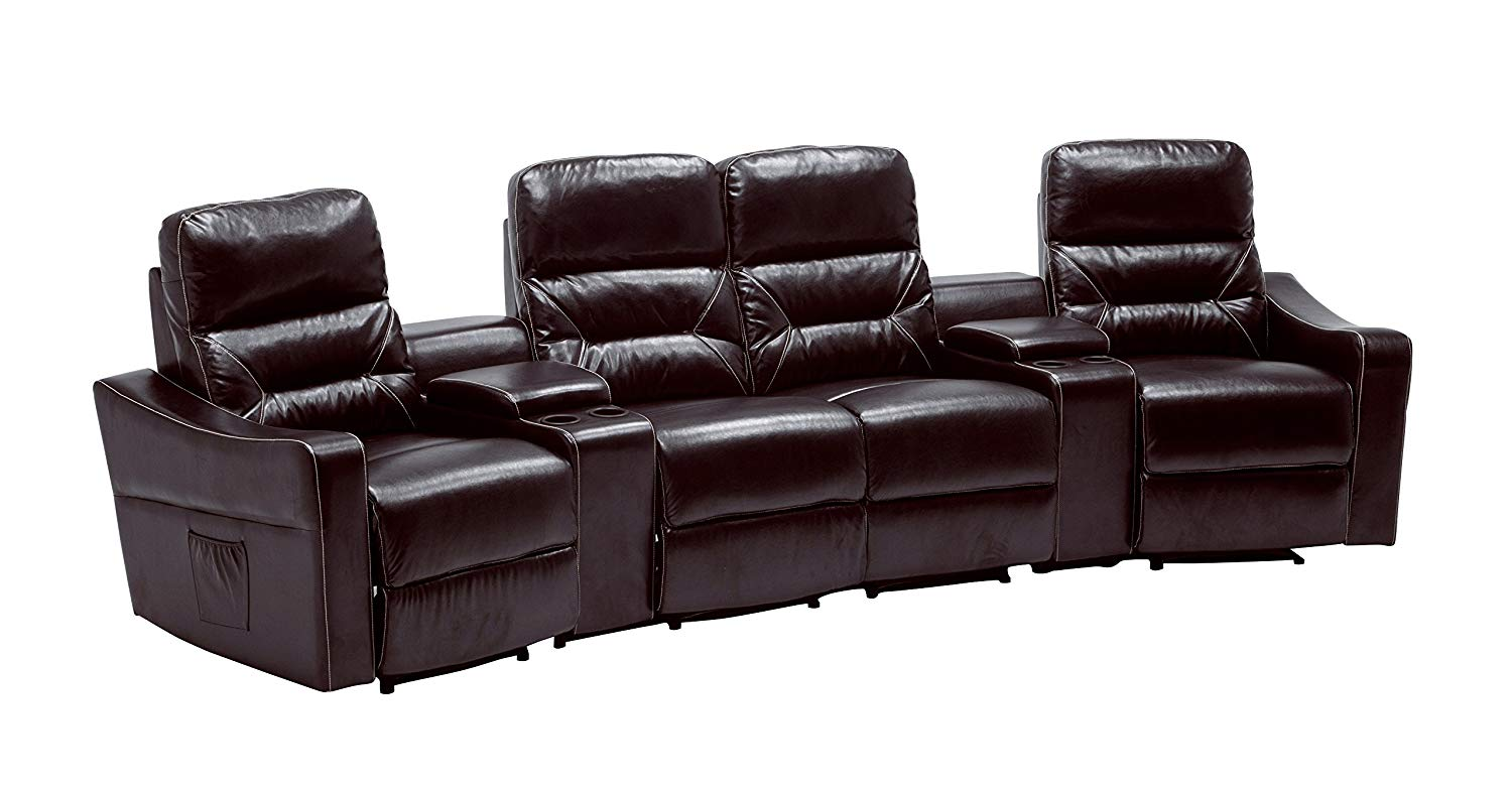Mcombo 4 Seat Leather Home Theater Recliner Media Sofa W Cup Holder 7095 Brown