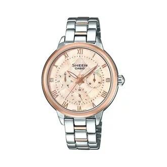 CASIO 卡西歐 SHE-3055SPG-4A SHEEN夢幻宴會晶鑽時尚腕錶 玫瑰金 37mm   清水鐘錶 - Rakuten樂天市場