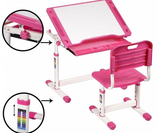 Pink Adjustable Childrens Desk Chair Set Child Study Desk Kids Study Table Xlq 0