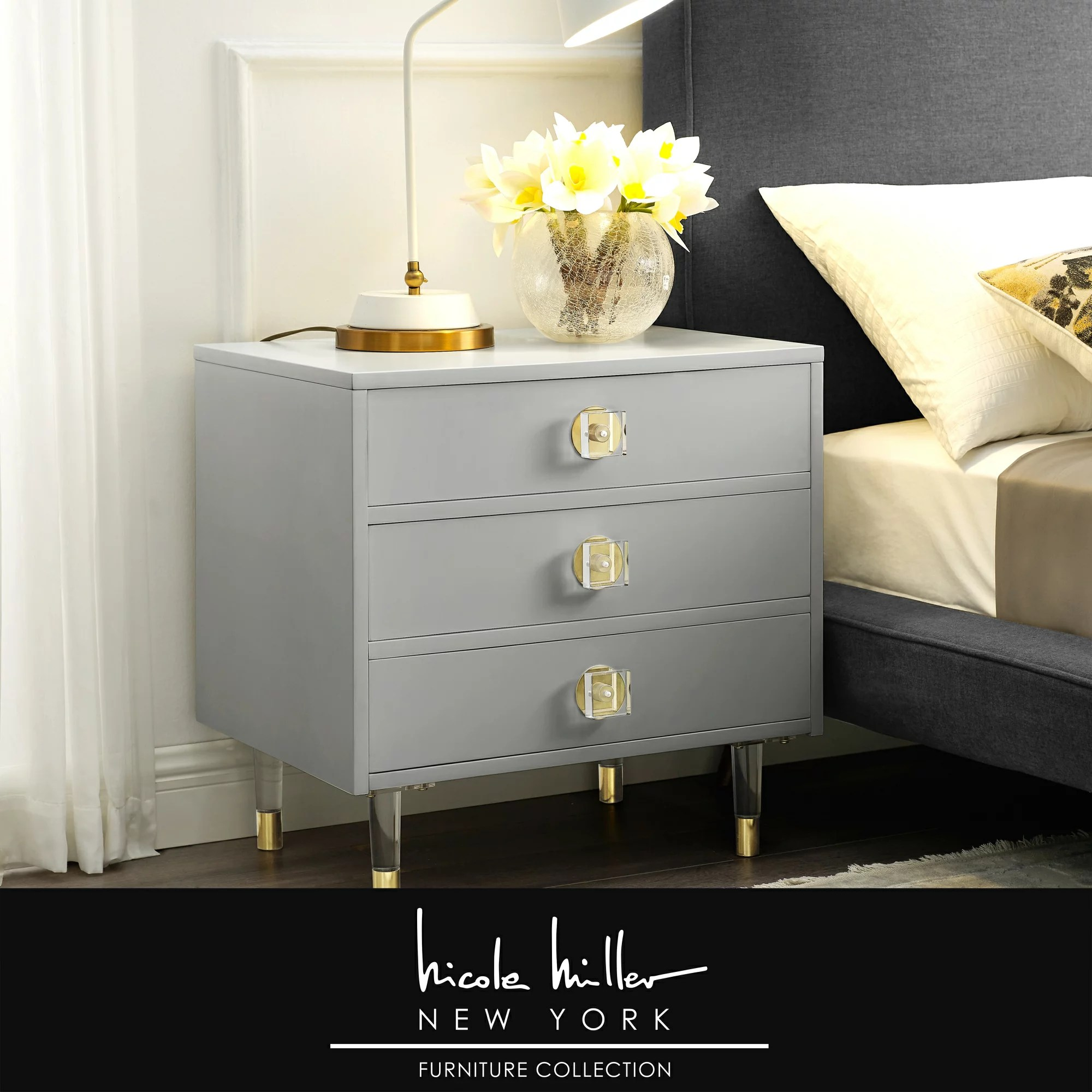 Nicole Miller Dionysio Nightstand 3 Drawers Acrylic Knob And Leg Metal Accents High Gloss