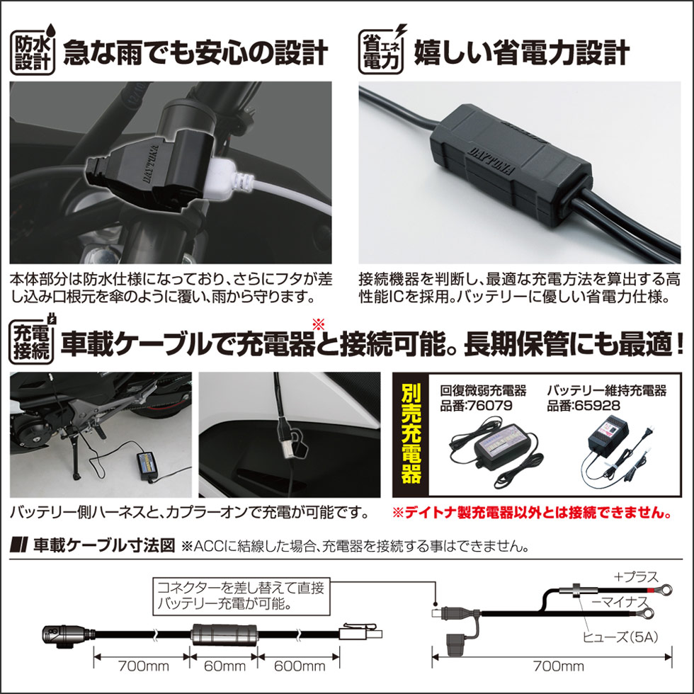 2.1Aバイク専用電源USB(5V2.1A)1ポート