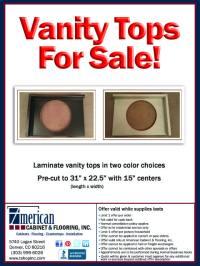 FOR SALE! - Laminate Vanity Tops