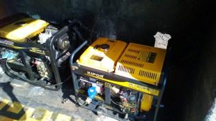 One of 3 5-horse power generators Darrell uses
