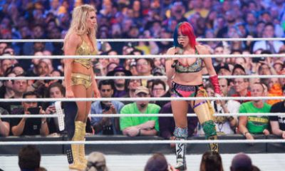 Charlotte Flair and Asuka, after their huge battle at WrestleMania 34