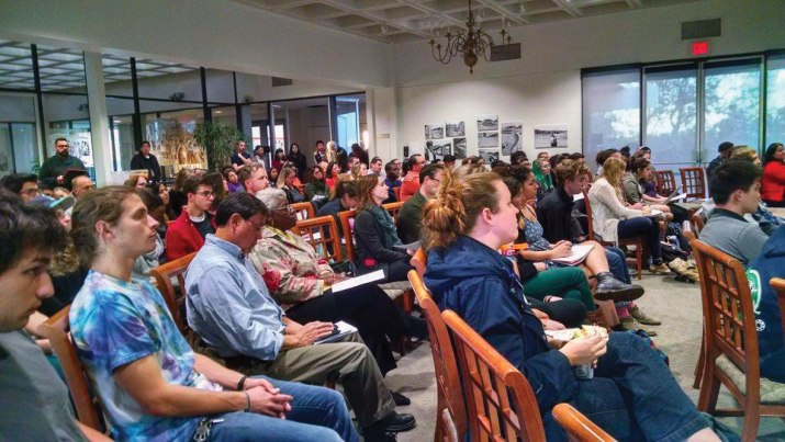 Pitzer College students, faculty and community members sit in the Founders Room Dec. 1.