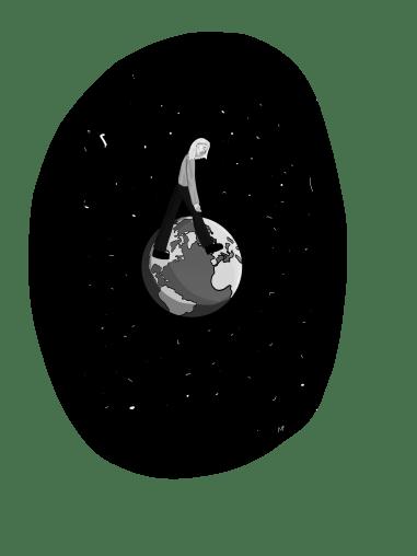 Girl walking on globe